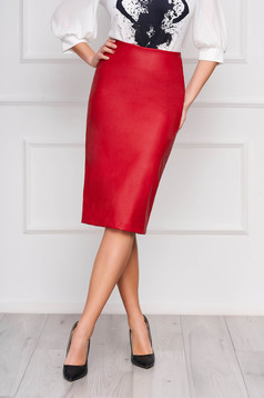 StarShinerS red pencil skirt from ecological leather