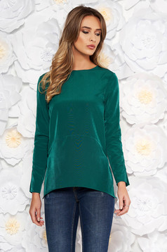 Artista darkgreen elegant flared women`s blouse soft fabric bare back