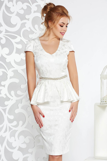 StarShinerS white occasional dress from elastic fabric frilled accessorized with tied waistband