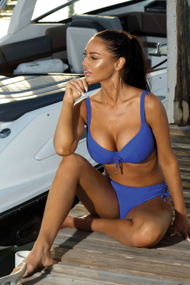 Blue swimsuit with normal bra with classical slip with push-up cups adjustable straps