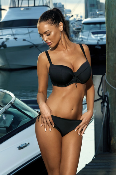 Black swimsuit with normal bra with classical slip with push-up cups adjustable straps