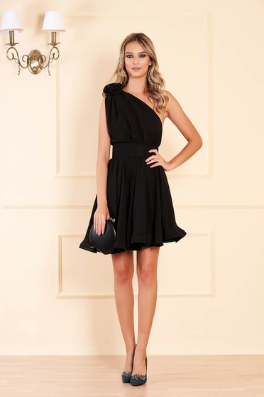 Ana Radu occasional black one shoulder cloche dress