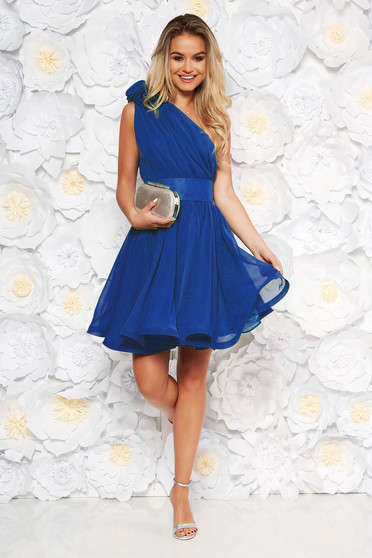 Ana Radu occasional blue one shoulder cloche dress