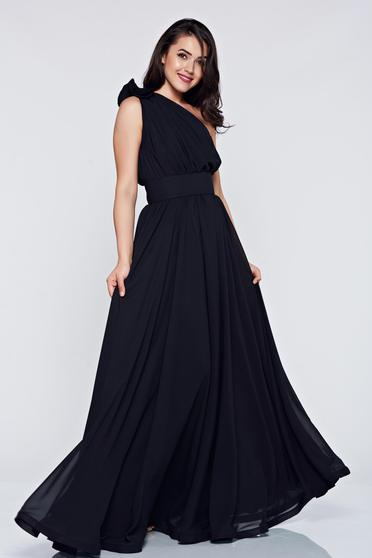 Occasional Ana Radu black voile fabric one shoulder dress