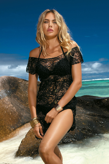 Black beach wear dress laced is fastened around the waist with a ribbon flared