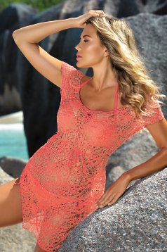 Orange beach wear dress laced is fastened around the waist with a ribbon flared