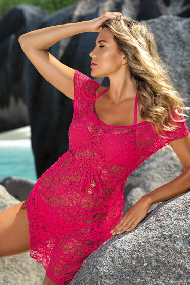 Pink beach wear dress laced is fastened around the waist with a ribbon flared