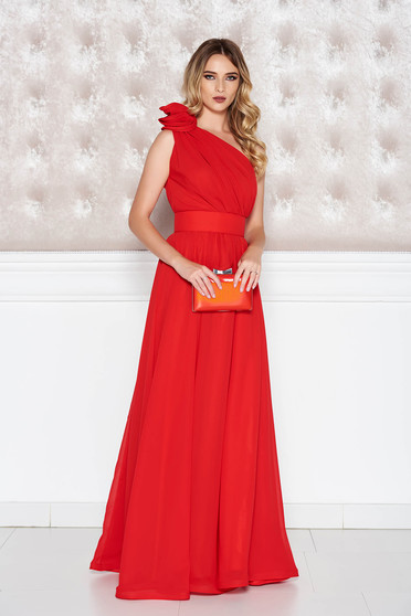 Occasional Ana Radu red voile fabric one shoulder dress