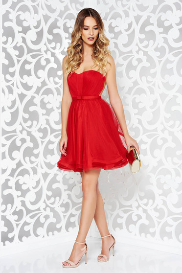 Ana Radu red occasional corset dress with push-up cups