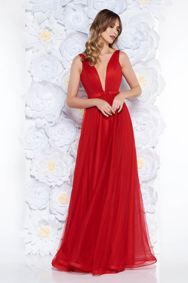 Ana Radu occasional net red dress with v-neckline bow accessory