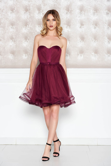 Ana Radu burgundy occasional corset dress with push-up cups