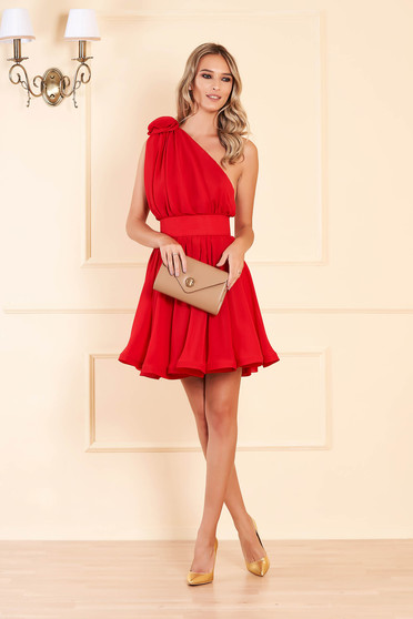 Ana Radu occasional red one shoulder cloche dress