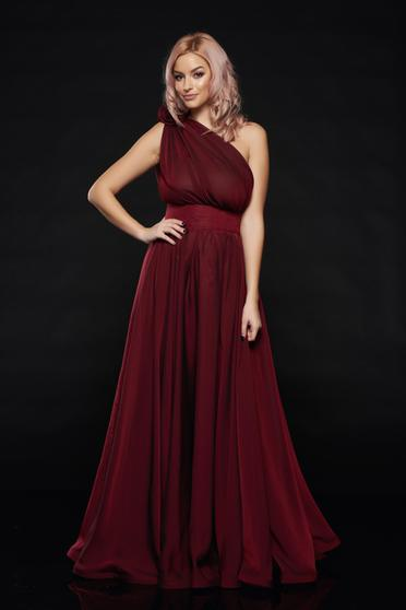 Occasional Ana Radu burgundy voile fabric one shoulder dress
