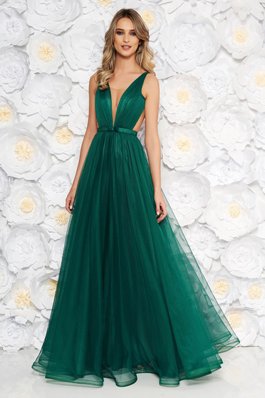 Ana Radu occasional net green dress with v-neckline bow accessory