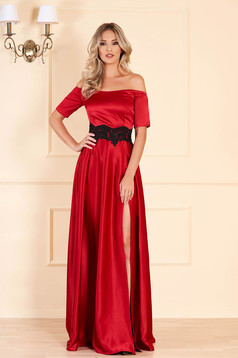 Artista occasional red dress with satin fabric texture embroidery details