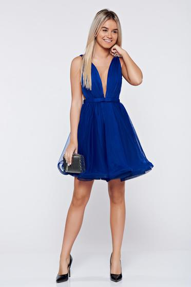 Ana Radu cloche blue luxurious dress with a cleavage from tulle with inside lining accessorized with tied waistband