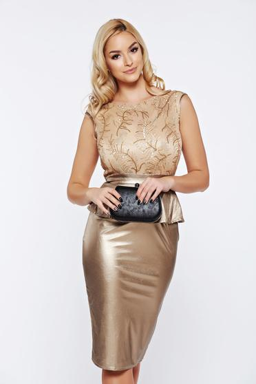 Fofy gold occasional frilled dress from ecological leather