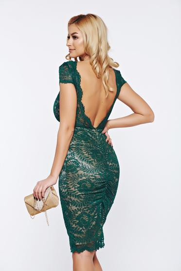 Fofy green occasional laced bareback dress