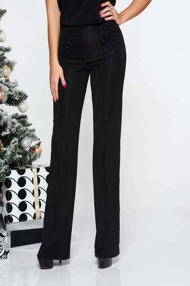 Fofy black trousers elegant from elastic and fine fabric high waisted flaring cut with button accessories