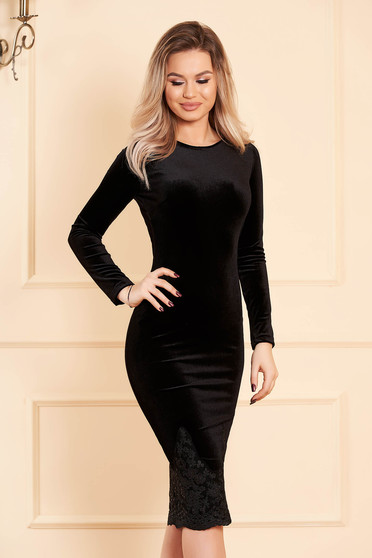 Artista black occasional velvet pencil embroidered dress