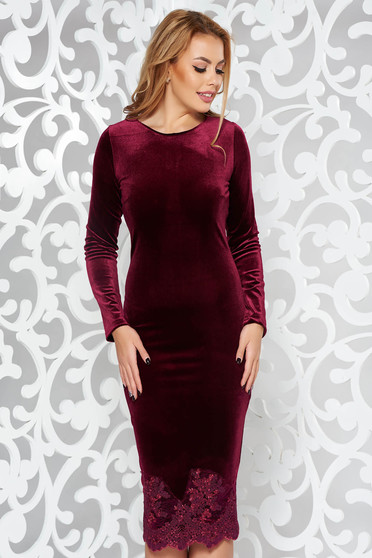 Artista burgundy occasional velvet pencil embroidered dress
