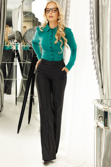 Fofy green office cotton women`s shirt with bow shaped accessory