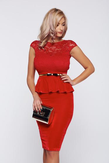Fofy red occasional frilled waist dress from laced fabric