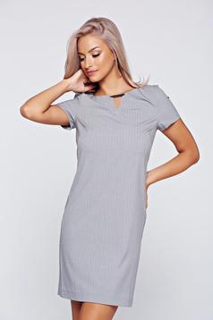 Top Secret lightgrey dress office stripes easy cut