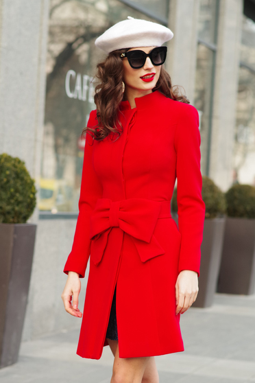 Artista red elegant cloche coat with inside lining accessorized with tied waistband with bow