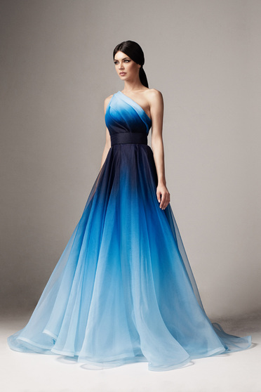 Ana Radu blue one shoulder cloche luxurious dress with inside lining long accessorized with tied waistband