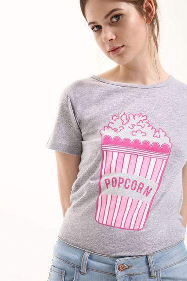 Top Secret cotton grey casual t-shirt