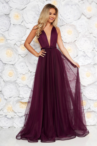 Ana Radu occasional net purple dress with v-neckline bow accessory