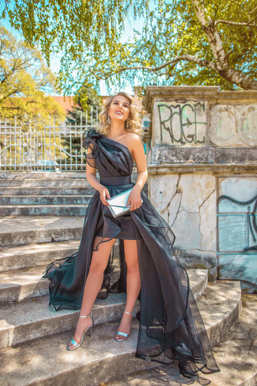One shoulder Ana Radu black evening net dress