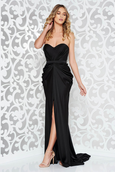 Ana Radu luxurious off shoulder dress from satin fabric texture with push-up bra accessorized with tied waistband black