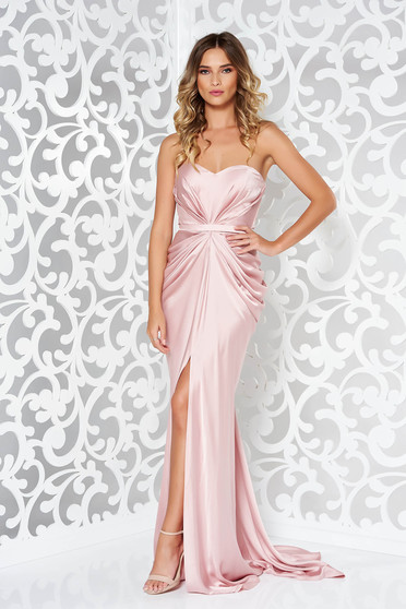 Ana Radu luxurious off shoulder dress from satin fabric texture with push-up bra accessorized with tied waistband rosa