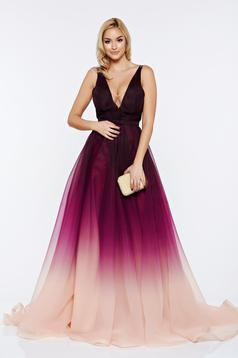 Ana Radu long purple evening dress with v-neckline