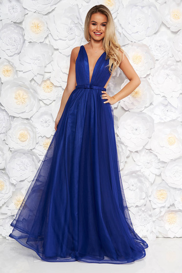 Ana Radu occasional net blue dress with v-neckline and bow accessory