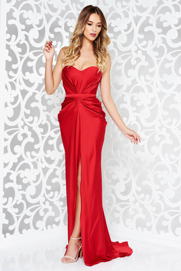 Ana Radu luxurious off shoulder dress from satin fabric texture with push-up bra accessorized with tied waistband red