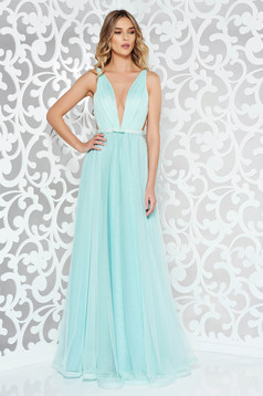 Ana Radu occasional net mint dress with v-neckline bow accessory