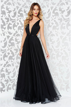 Ana Radu occasional net black dress with v-neckline bow accessory
