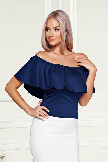 StarShinerS darkblue casual top shirt with ruffles on the chest on the shoulders