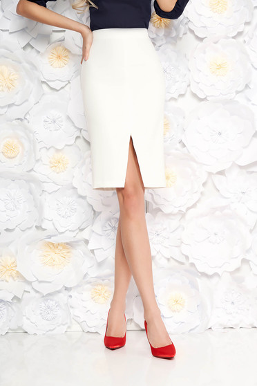 Elegant StarShinerS white high waisted pencil skirt