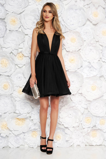 Ana Radu cloche black luxurious dress with a cleavage from tulle with inside lining accessorized with tied waistband