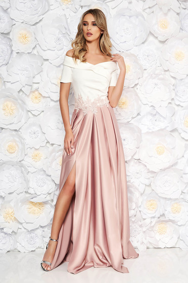 Occasional Artista rosa dress with satin fabric texture and embroidery details