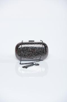 Darkgrey bag with metallic aspect and raised pattern