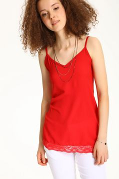 Top Secret red casual top shirt with thin braces