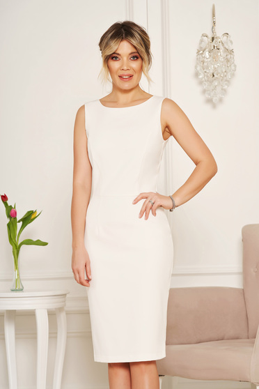 StarShinerS basic white pencil with cut back dress elegant midi