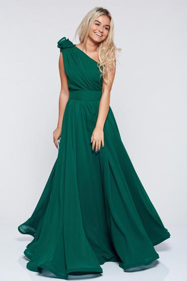 Occasional Ana Radu green voile fabric one shoulder dress