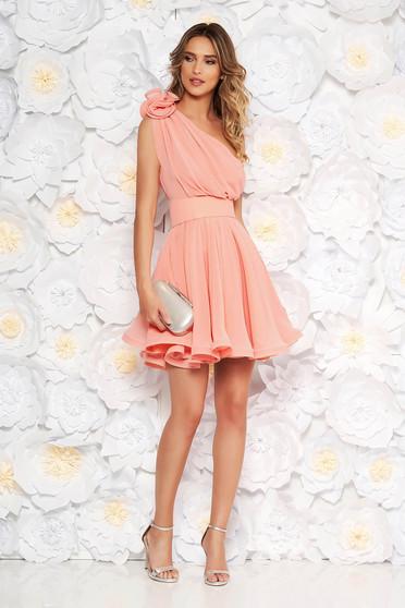 Ana Radu occasional peach one shoulder cloche dress
