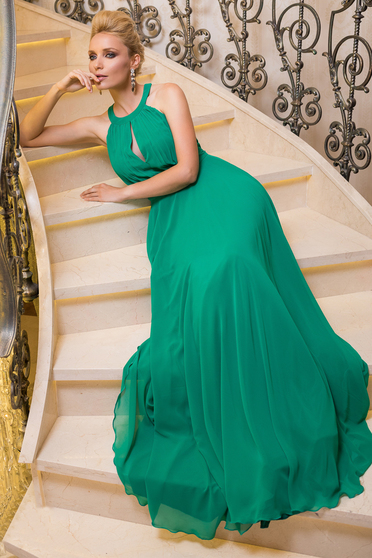 Fofy occasional green cloche sleeveless dress